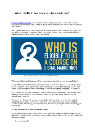 Who is eligible to do a course on digital marketing?