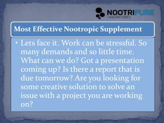 Most Effective Nootropic Supplement