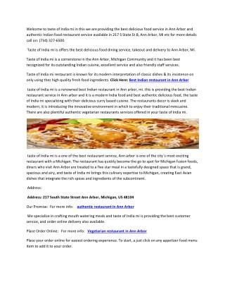 Taste of India mi – best authentic Indian restaurant in Ann Arbor, MI