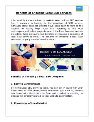 Benefits of Choosing a Local SEO Company