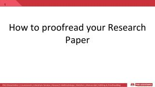 How to proofread your Research Paper