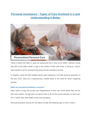 Personal Assistance - Types of Care Involved in it and Understanding it Better