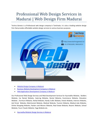 Affordable Web Design Services in Madurai