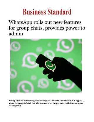 WhatsApp rolls out new features for group chats, provides power to admin