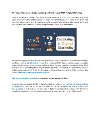 Why Should You Choose Digital Marketing Certification over MBA in Digital Marketing
