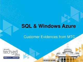 SQL & Windows Azure