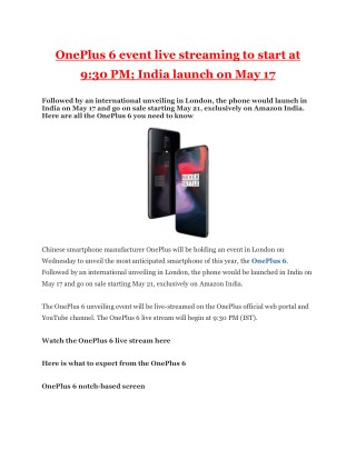 OnePlus 6 event live streaming to start at 9:30 PM; India launch on May 17