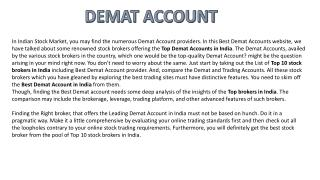 demat account information