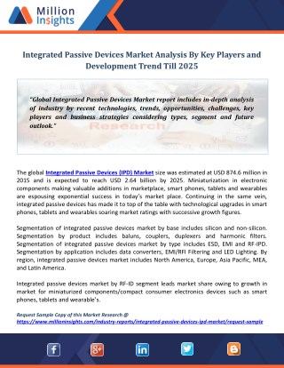 Integrated Passive Devices Market Analysis By Key Players and Development Trend Till 2025