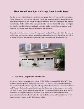Garage Door Repair and Installation in Los Angeles