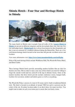 Shimla Hotels - Four Star and Heritage Hotels in Shimla