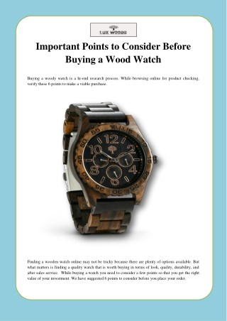 Important Points to Consider Before Buying a Wood Watch