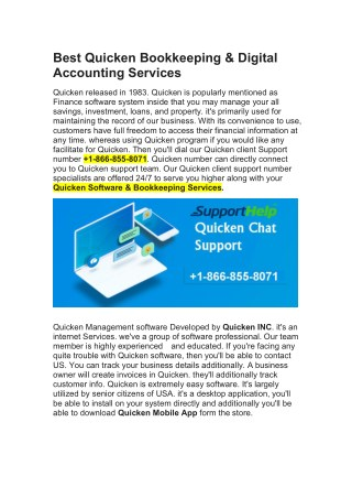 Quicken Bookkeeping & Digital Accounting Services