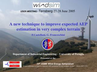 A new technique to improve expected AEP estimation in very complex terrain  F.Castellani, G. Franceschini    Department