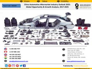 China Automotive Aftermarket Industry Outlook 2025:  Global Opportunity & Growth Analysis, 2017-2025