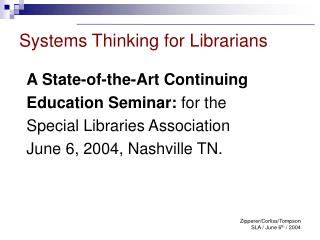 Systems Thinking for Librarians