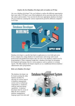 Explore the best Database Developer jobs in London on IT Gigs