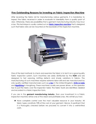 Fabric Inspection Machine for Garment Defects Classification