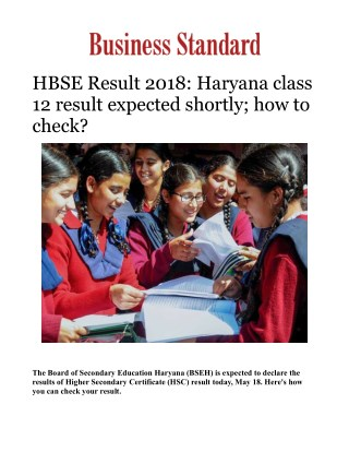 HBSE Result 2018: Haryana class 12 result expected shortly; how to check?