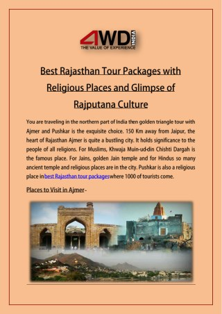 Best Rajasthan Tour Packages with Religious Places and Glimpse of Rajputana Culture