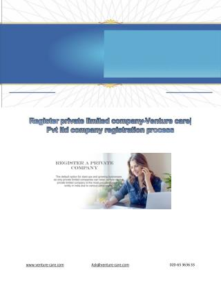 Register private limited company-Venture care| Pvt ltd company registration process