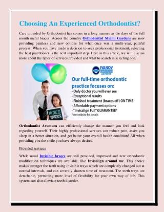 Choosing An Experienced Orthodontist