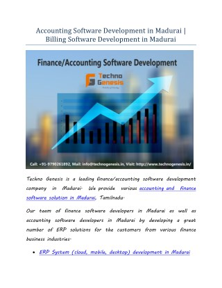 Finance/Accounting Software Development Services in Madurai