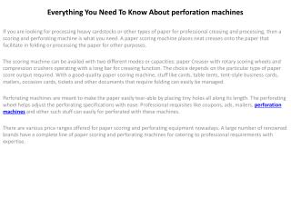 perforation machines service