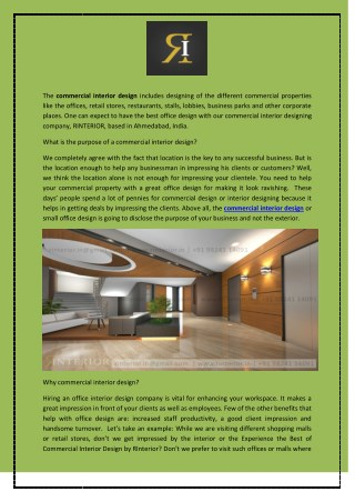 Experience the Best of Commercial Interior Design by RInterior
