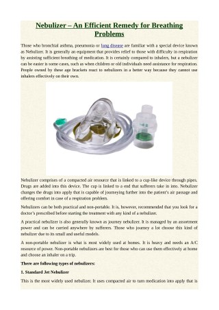 Nebulizer – An Efficient Remedy for Breathing Problems