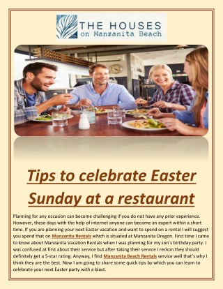 Tips to Celebrate Easter Sunday at a Restaurant