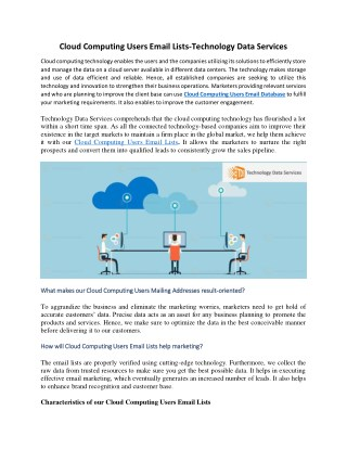 Cloud Computing Users Email Lists - Technology Data Services