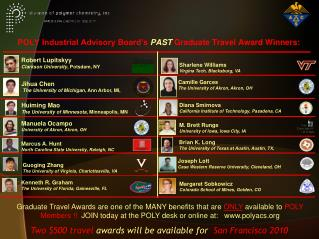 POLY Industrial Advisory Board's  PAST  Graduate Travel Award Winners: