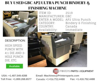 Buy Used GBC AP2 Ultra Punch Bindery and Finishing Machine