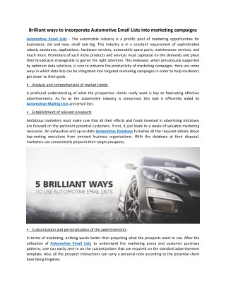 Brilliant ways to incorporate Automotive Email Lists into marketing campaigns
