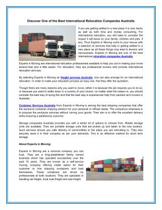 Best International Relocation Companies Australia