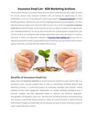 Insurance Email List | Insurance Companies Email List | B2B Marketing Archives