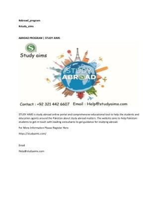 ABROAD PROGRAM | STUDY AIMS