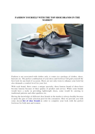 FASHION YOURSELF WITH THE TOP SHOE BRANDS IN THE MARKET