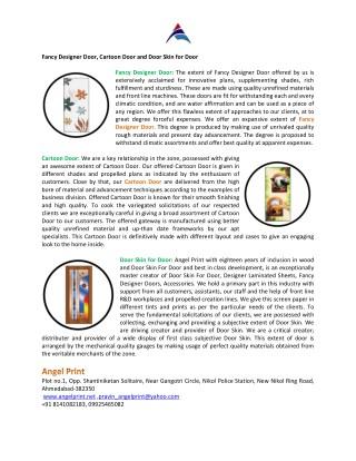 Fancy Designer Door, Cartoon Door and Door Skin for Door