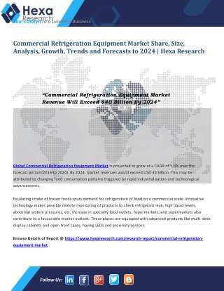 Commercial Refrigeration Equipment Market Research Report