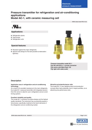 Wika Pressure transmitter with ceramic measuring cell   Instronline