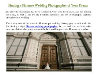 Finding a Florence Wedding Photographer of Your Dream