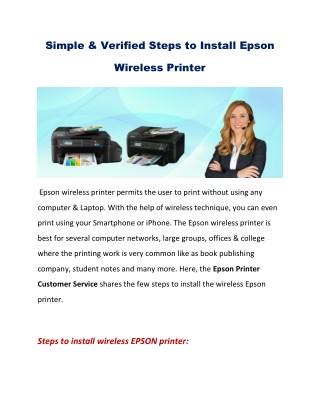 Verified Steps to Install Epson Wireless Printer