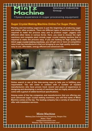 Sugar Crystal Making Machine Online For Sugar Plants