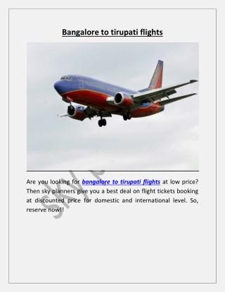 bangalore to tirupati flights