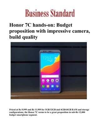 Honor 7C hands-on: Budget proposition with impressive camera, build quality