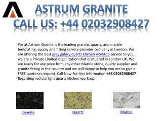 Grey Galaxy Quartz Kitchen Worktop In London UK - Astrum Granite