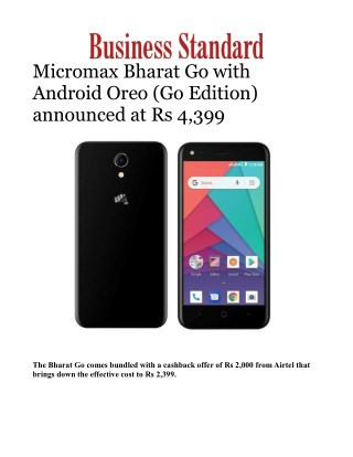 Micromax Bharat Go with Android Oreo (Go Edition) announced at Rs 4,399