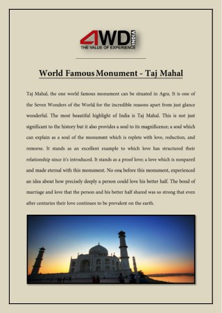 World Famous Monument - Taj Mahal